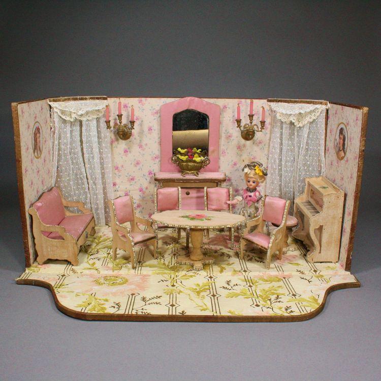 0f1c6b982b Un salon de poupées garni de son mobilier - Poupées et Maisons Antiquités